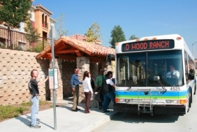 People Getting on Simi Valley Transit Bus