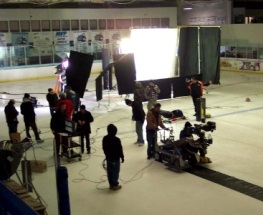 Filming at Ice-o-Plex Ice Rink