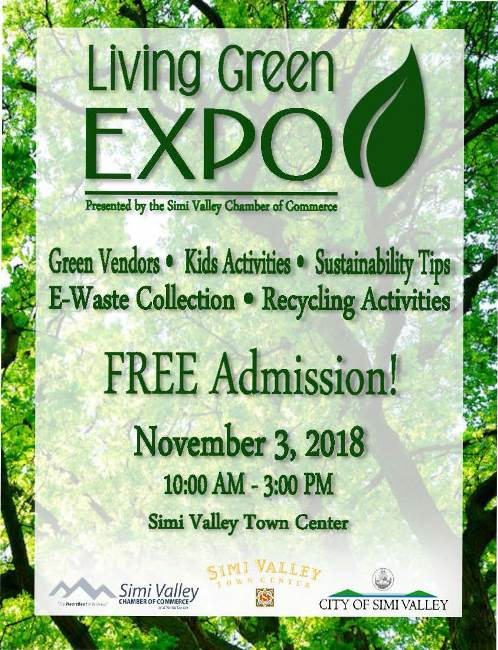 Livng Green Expo presented by the simi valley chamber of commerce. Green vendors. Kids activities. sustainability tips, e-waste collection. Recycling activities. free admission!. november 3, 2018, 10:00 am to 3:00 PM. simi calley town center