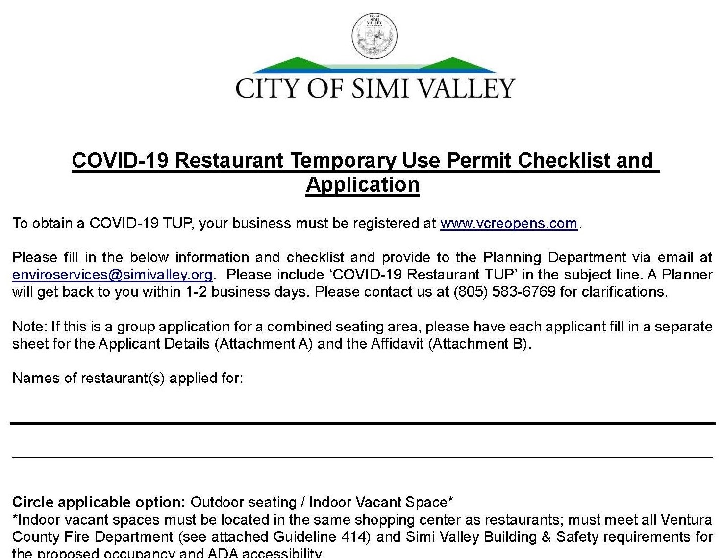 COVID-19 Restaurant Temporary Use Permit Checklist and Application