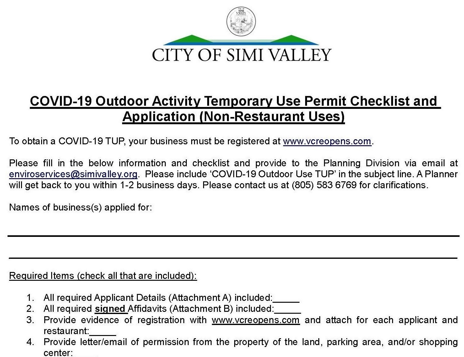 COVID-19 Outdoor Activity Temporary Use Permit Checklist and Application (Non-Restaurant Uses)