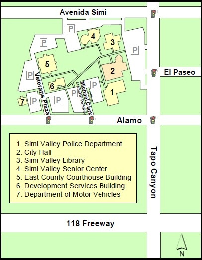 Map of Civic Center 1. Simi Valley Police Department 2. City Hall 3. Simi Valley Library 4. Simi Valley senior center 5. East county Courthouse building 6. Development services building 7. Department of motor vehicles