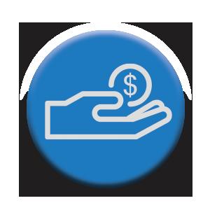 money hand button